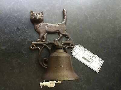 Antique Victorian House Style Rustic Cat Cast Iron Hanging Wall Door Bell