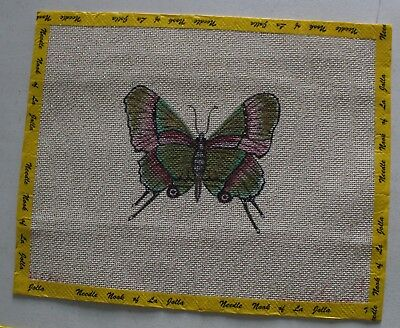 Reduced Price -- Butterfly Needlepoint on Gold Flecked Canvas