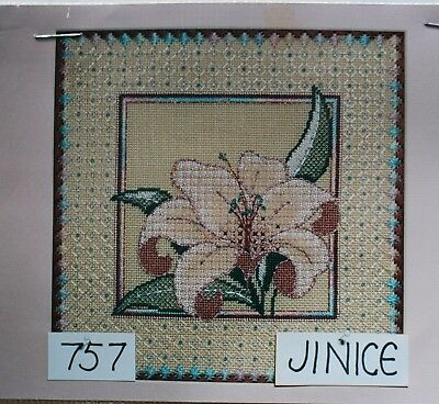 Reduced Price -- Lily on Sandstone Needlepoint Canvas - by Jinice