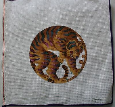 Reduced Price -- Oriental Tiger in a Circle Needlepoint Canvas - by Aimee