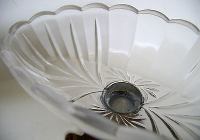 Antique Scalloped-Edge Pressed Glass Bowl & Rococo-Style Metal Compote