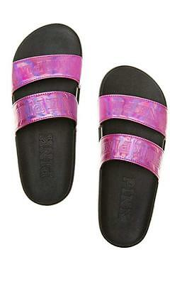 19e87271f433a VICTORIA'S SECRET PINK Slides Slip On Sandals Metallic Graphic Flip ...