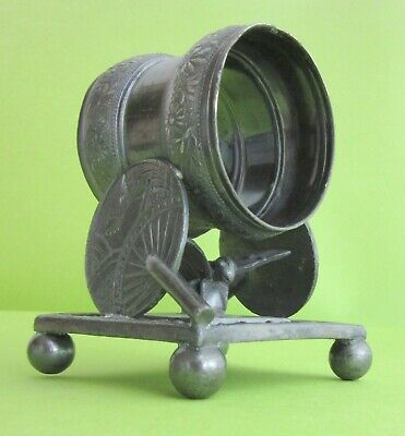 Antique Victorian Meriden #208 Figural Napkin Ring Holder Oriental Fan Butterfly