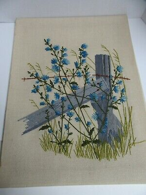 Finished Paragon Crewel Embroidery Country Roadside Fence Post Completed 18x24