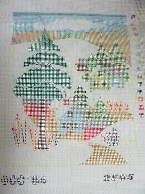 Needlepoint Canvas 12 Count Winter Country Scene Trees House 2505