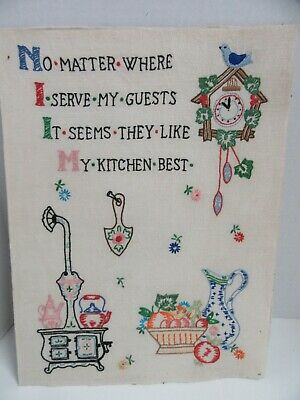 Finished Embroidery No Matter Where Kitchen Theme Completed 12x16 Vintage