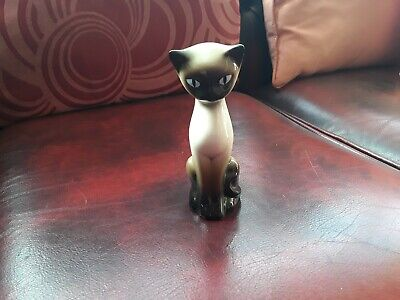 Vintage 50-60's ? Small Ceramic Siamese Cat. Seal Point. Excellent.