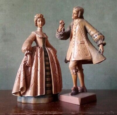 Pair Of Vintage Anri Carved Wooden Figures In Period Costume