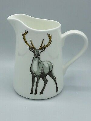 Jersey Pottery Faunas Milk Jug Pitcher STAG Made in England Bone China 16 oz