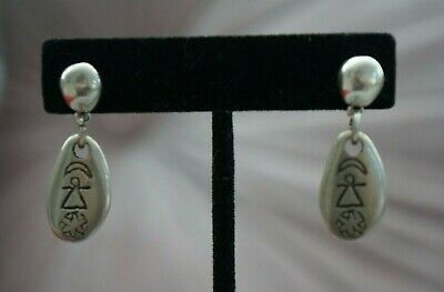 """NEW RETIRED Uno De 50 Silver 1.5"""" Drop Dangle Ancient Etching Statement Earrings"""