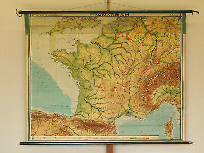 Wall Map Map France Alps Nach 2.WK 165x131cm Old School Map Patina