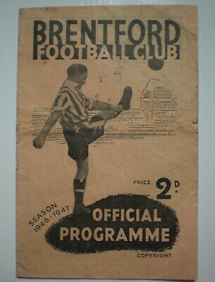 BRENTFORD v DERBY COUNTY 1946 1947 FOOTBALL PROGRAMME Division One MEMORABILIA