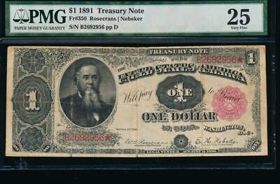 AC Fr 350 1891 $1 Treasury Coin Note STANTON PMG 25 comment