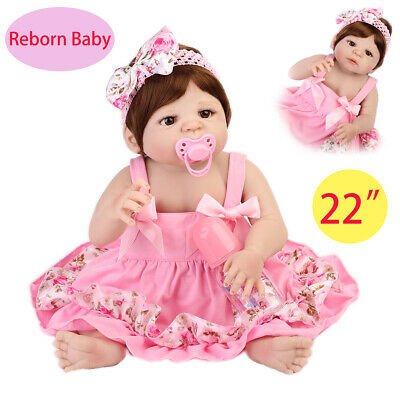 22'' Reborn Baby Doll Full Body Silicone Vinyl Realistic Girl Doll Holiday Gift