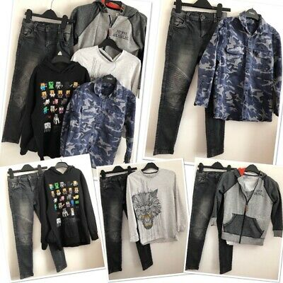 Next Minecraft Very Boys Trendy Grey Jeans Jumper Shirt Bundle 8-9 Years