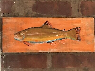 One of a kind- Fish Hand Painted on Wood - Beach House - Nautical - Art