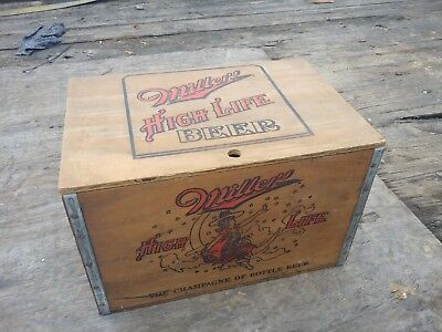 Vintage Miller High Life Wood Crate Box w/Checker Board