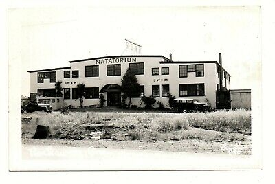 RPPC photo postcard NATATORIUM at ROCKAWAY OREGON swimming pool spa resort 1950s