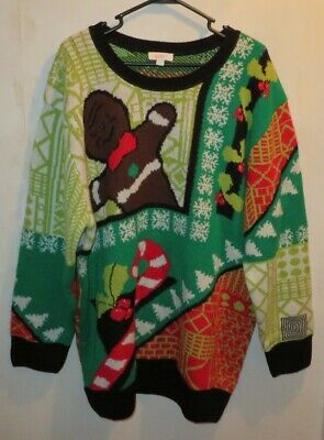 Lularoe XL Ugly Christmas Sweater Gingerbread Man Candy Cane Red Green Unisex