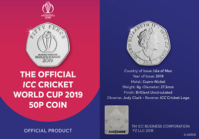 !-GENUINE-! THE OFFICIAL ICC CRICKET WORLD CUP 2019 50p COIN -!!!! WINNERS!!!!
