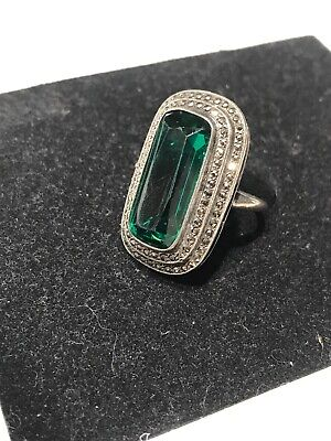 Beautiful Antique Art Deco Sterling Stamp Green Tourmaline Marcasite Ring Size 7