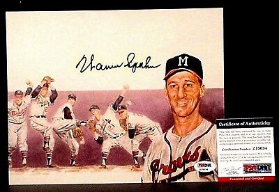 PSADNA-HOF *WARREN SPAHN* GEM MINT Signed 8x10 Baseball Lithograph Photo-BRAVES