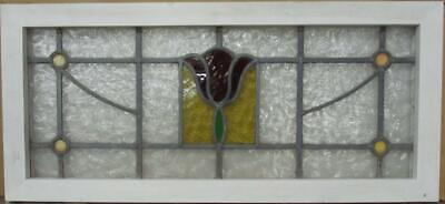 "OLD ENGLISH LEADED STAINED GLASS WINDOW TRANSOM Stunning Floral 34"" x 15.5"""