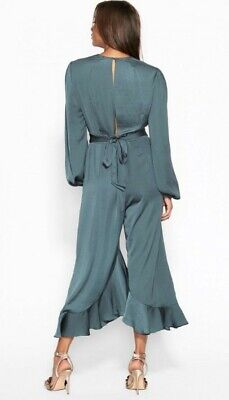 sheike jumpsuit size 8 great condition flute leg tie waist silk