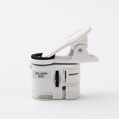 Universal Phone Clip 60X LED UV Magnifier Mini Microscope for Jewelry Currency