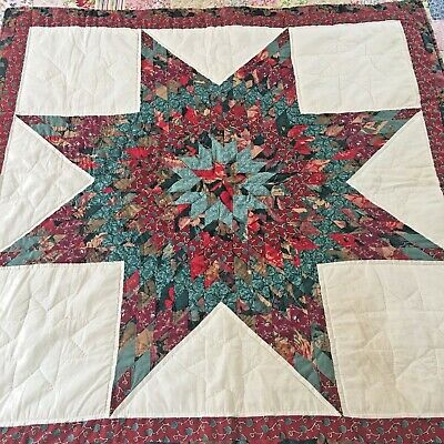 "Stunning Vintage Hand Quilted  Lone Star Quilt 40"" X 40"""