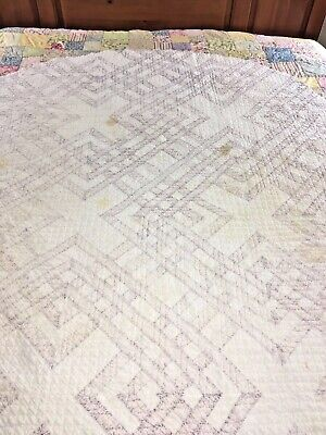 "Vintage Handmade Carpenters Square Quilt  64"" X 57 Oval  Cutter Piece"