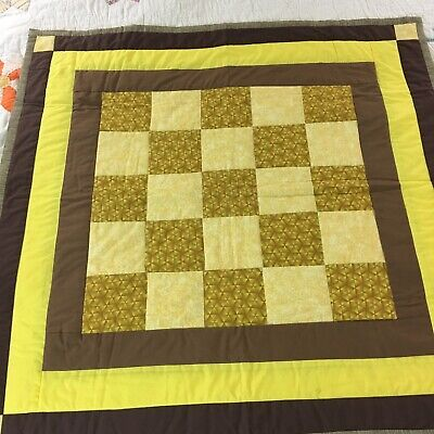 Handmade Checkerboard Patchwork Quilt  Signed & Dated By Maker