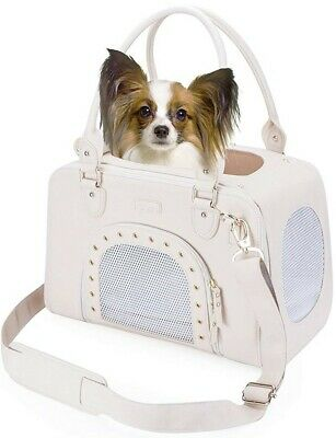 PetsHome Small Dog Carrier Purse, Pet Carrier Foldable Waterproof Leather Cream