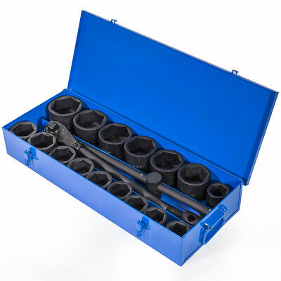 "21-Pieces SAE Jumbo Impact Socket Set 1"" inch Drive Ratchet Extension Bar w/Case"
