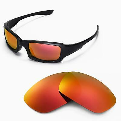Walleva Polarized Fire Red Replacement Lenses For Oakley Fives Squared Sunglass
