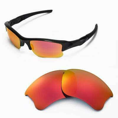 New Walleva Fire Red Polarized Replacement Lenses For Oakley Flak Jacket XLJ