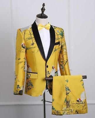 New 3pcs Mens Embroidery Floral Formal Wedding DJ Suits Jacket Pants Bow Tie Hot