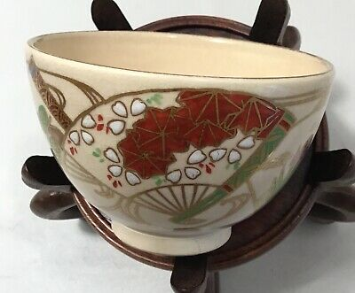 Vintage Japanese Kyoto Satsuma Pottery Tea Bowl Chawan Signed  4.75in Diameter