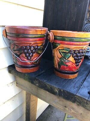 Vintage  2 Mexican Folk Art Hand Carved Wooden Buckets