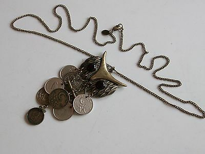 """Brass Finish Owl Pendant On Long Chain 29½"""" Distressed"""