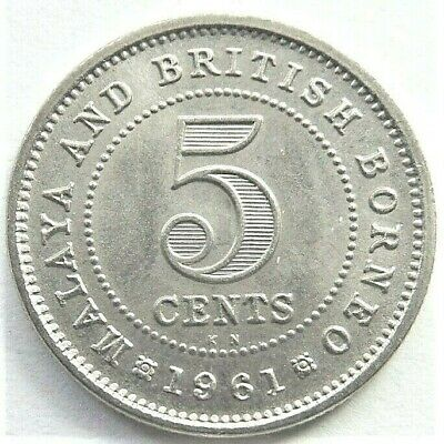 1961KN MALAYA and BRITISH BORNEO, 5 CENTS grading UNCIRCULATED.