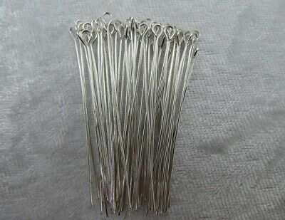 Eye Pins - Platinum (Bright Silver) - 50mm - 50 Pieces - New