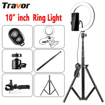 "10"" Dimmable LED Studio Ring Light Photo Video Lamp Light Kit For Makeup & Phone"
