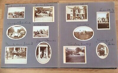 Antique Large Edwardian 1907 Photographic Album,80+ Original Old Photos,Cars,etc