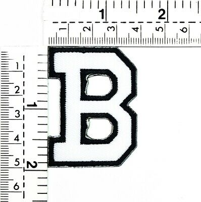 2 IN White Letter B Iron On Patches Sew On Appliques Alphabet A-Z Embroidered
