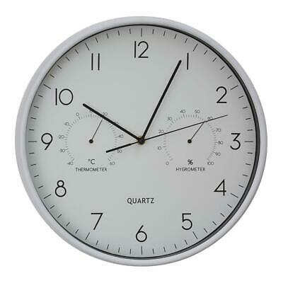 Elko Wall Clock With Temp / Humidity Dial | Round, Elegant Design