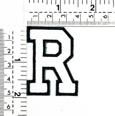 2 IN White Letter R Iron On Patches Sew On Appliques Alphabet A-Z Embroidered