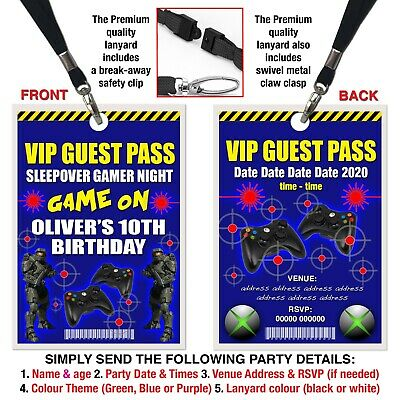 BIRTHDAY PARTY INVITATIONS Gamer, Xbox, Playstation, Green