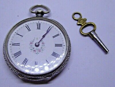Antique 935 Grade JW Benson Hallmarked Silver Key Operated Fob Pocket Watch