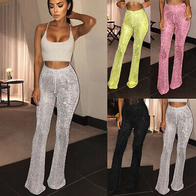 Sexy Womens Bell Bottom Flared Pants Ladies Casual Sequin High Waist Trousers UK